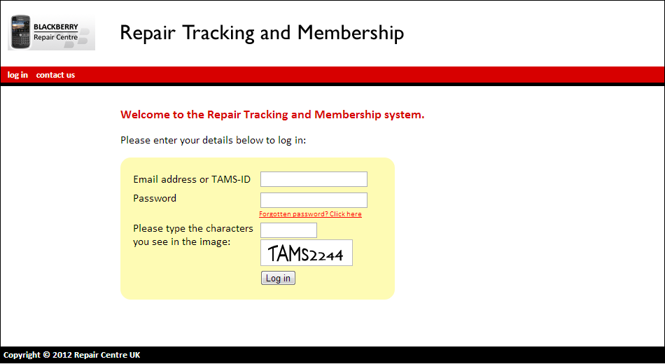 Log in to the Web Based tracking system